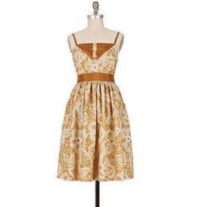 Anna Sui Amid The Dunes Paisley Silk Dress Sz 12